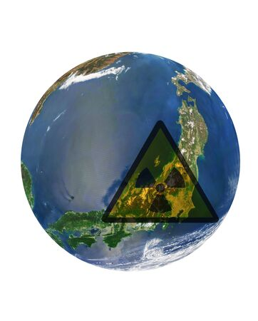 japan catastrophe: japan country at earth with radiation sign. Data source - nasa web site Stock Photo - 9379625