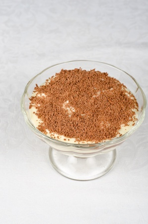 Classic italian dessert- tiramisu with mascarpone cheese, cookies and liqueur photo