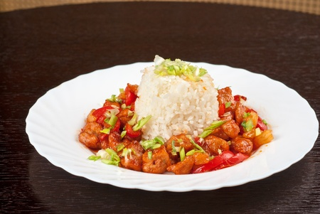Pork meat and vegetables and pineapple with japanese rice Stock Photo - 9424884