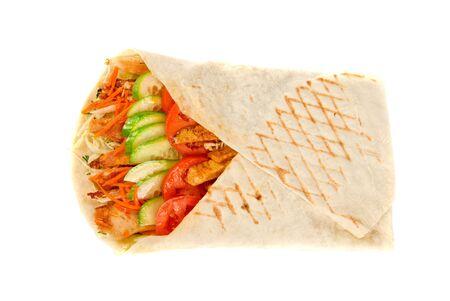 tzaziki: Doner kebab closeup on a white background. Stock Photo