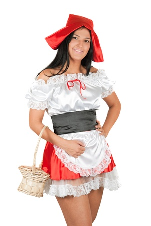 Sexy Little Red Riding Hood isolated on a white photo