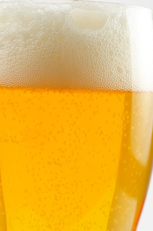 Glass of beer closeup on a white background Stock Photo - 9881796