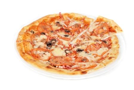 meat pizza closeup with carbonado ham, tomato, olive and mozzarella cheese photo