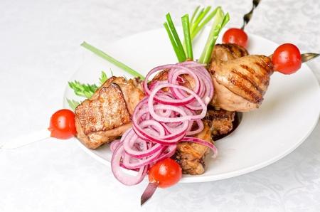 Grilled kebab meat with onion and tomato on a white plate photo