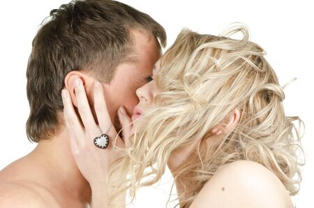 Kissing man and woman - lovers closeup portraits Stock Photo - 10777028
