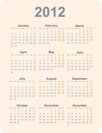 next year: 2012 year calendar vector illustration. Dark letters on a light orange background.