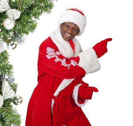 surprised black santa claus on a white background photo