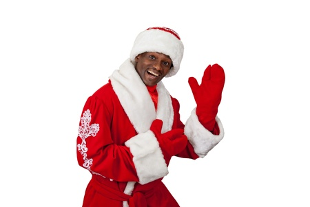 surprised black santa claus on a white background photo