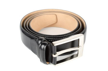Men's leather belt on a white background Stock Photo - 11170568