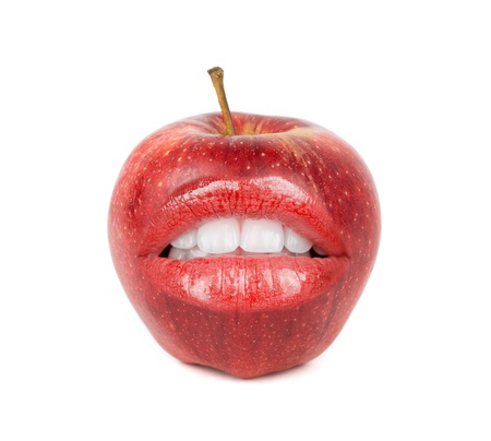 fresh red apple with open mouth on a white photo
