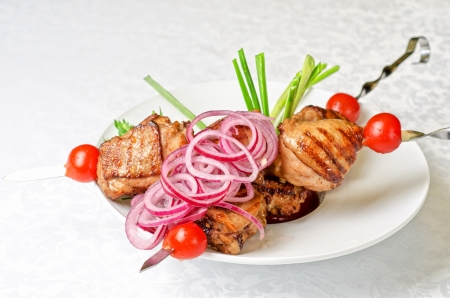 Grilled kebab meat with onion and tomato on a white plate