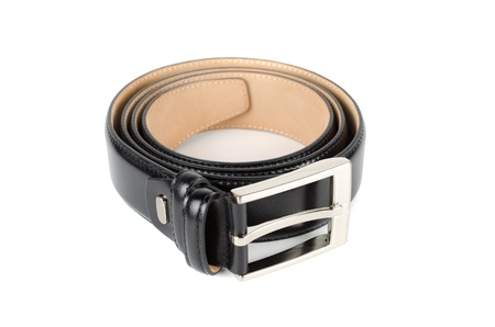 Men's leather belt on a white background Stock Photo - 11407759
