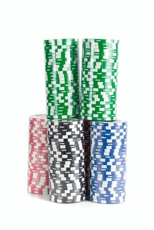 poker chips on white background photo