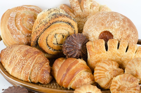 Bakery foodstuffs set on a white background Stock Photo