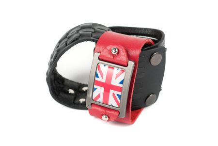 Men's leather belt with britain flag on a white background Stock Photo - 11764933