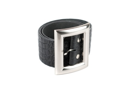 Men's leather belt on a white background Stock Photo - 11764930