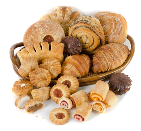 Bakery foodstuffs set on a white background Banque d'images