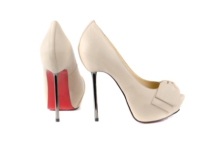 white female shoes on a white background 写真素材