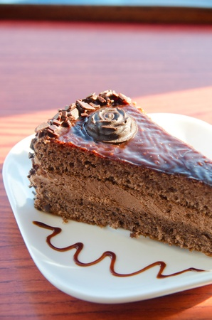 piece of chocolate cake at white plate Stock Photo - 11904764