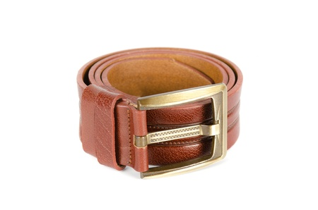 Men's leather belt on a white background Stock Photo - 12004403