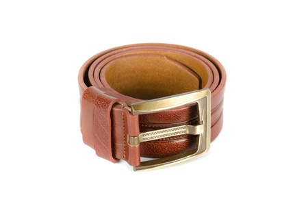 Men's leather belt on a white background Stock Photo - 12073619