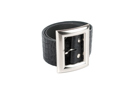 Men's leather belt on a white background Stock Photo - 12074344