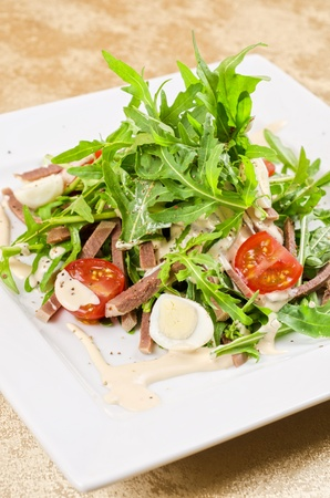Tasty salad of beef tongue with eggs, arugula, tomato, spices and sauce Stock Photo - 12074370