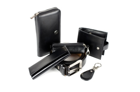 Leather accessories on a white