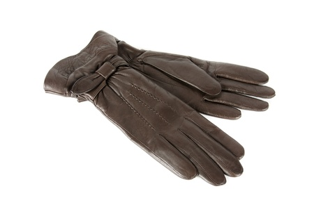 brown modern female leather gloves isolated on a white photo