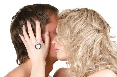 Kissing man and woman - lovers closeup portraits Stock Photo - 12326384