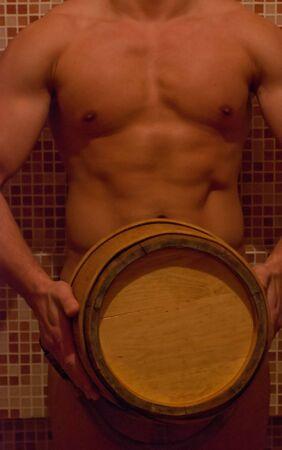 Closeup of beautiful muscular man at sauna Stock Photo - 12326363