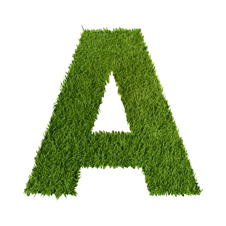 Green grass letter A on white background photo