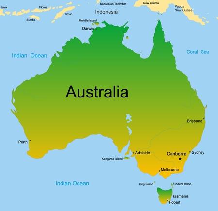 darwin: Detailed vector map of australian continent
