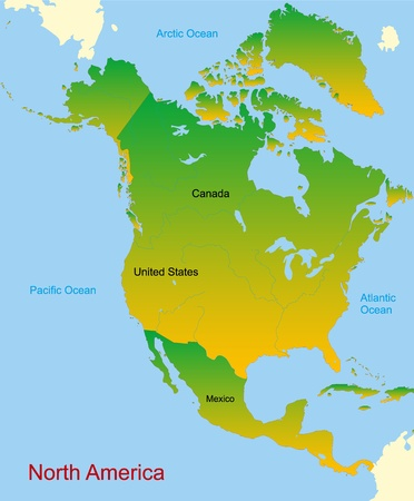 midwest: Detailed vector map of north america continent Illustration