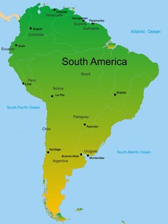 Carte vectorielle détaillée de l'Amérique du Sud continent Vecteurs