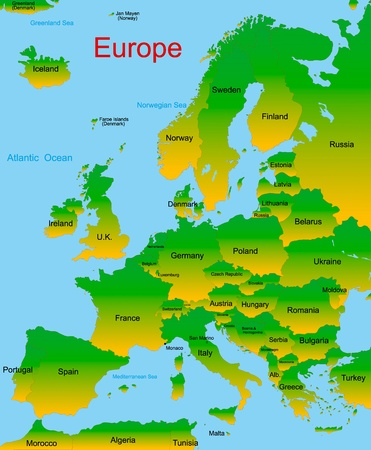 Detailed map of european continent Vector