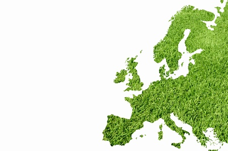 Europe map from green grass texture photo