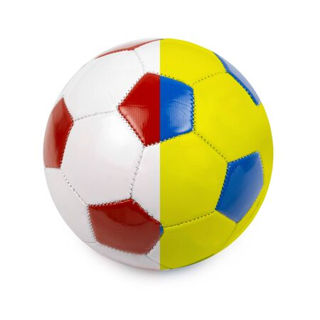 Soccer ball colored by flag of Poland and Ukraine photo