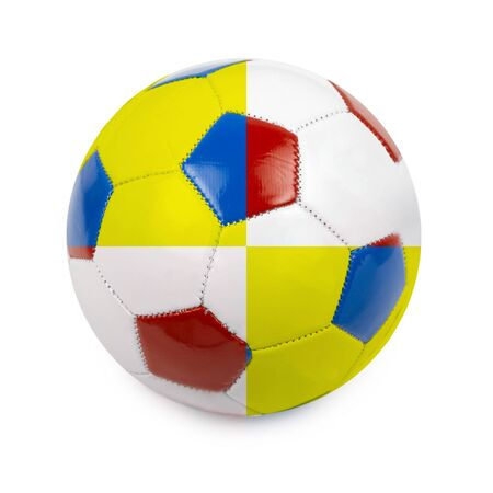 Soccer ball colored by flag of Poland and Ukraine on white photo