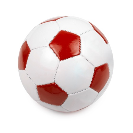 Soccer ball colored by flag of Poland on white photo