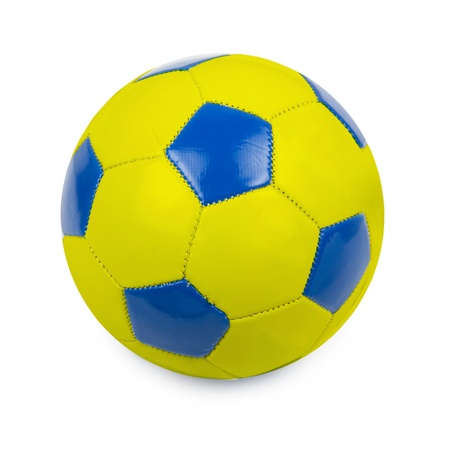 Soccer ball colored by flag of Ukraine on white photo