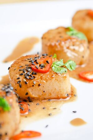 Close up Scallop seafood appetizer with spices Stock Photo - 12889186