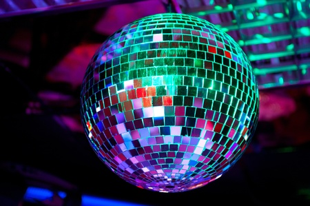 Disco ball light reflection background Stock Photo