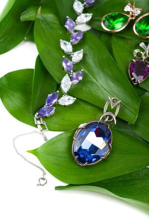 Jewelry with gems at green leaves Stock Photo - 13434191