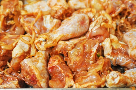 marinated chicken meat shashlik closeup photo photo