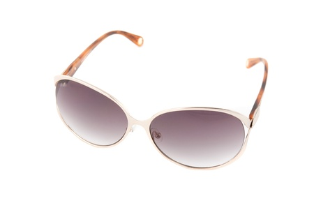 Modern sunglasses on a white background photo
