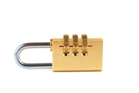 Close-up combination padlock isolated on white background Stock Photo - 13753341