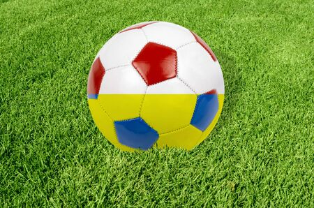 Soccer ball on grass field background photo