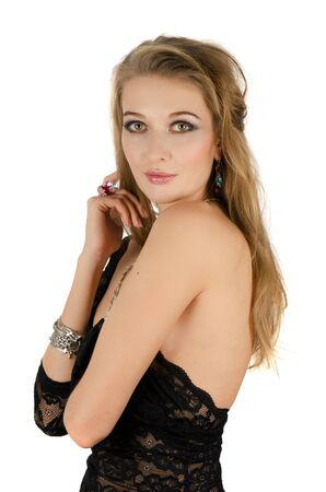 beautiful blond woman portrait on white background photo