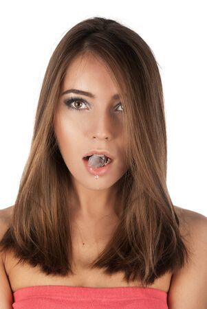 Beautiful girl hold ice cube in mouth and eat it Stock Photo - 14327664
